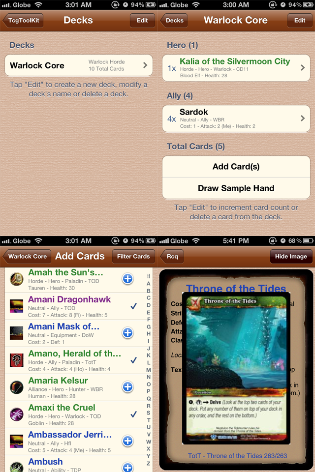 Screenshot TcgToolKit – WoW edition
